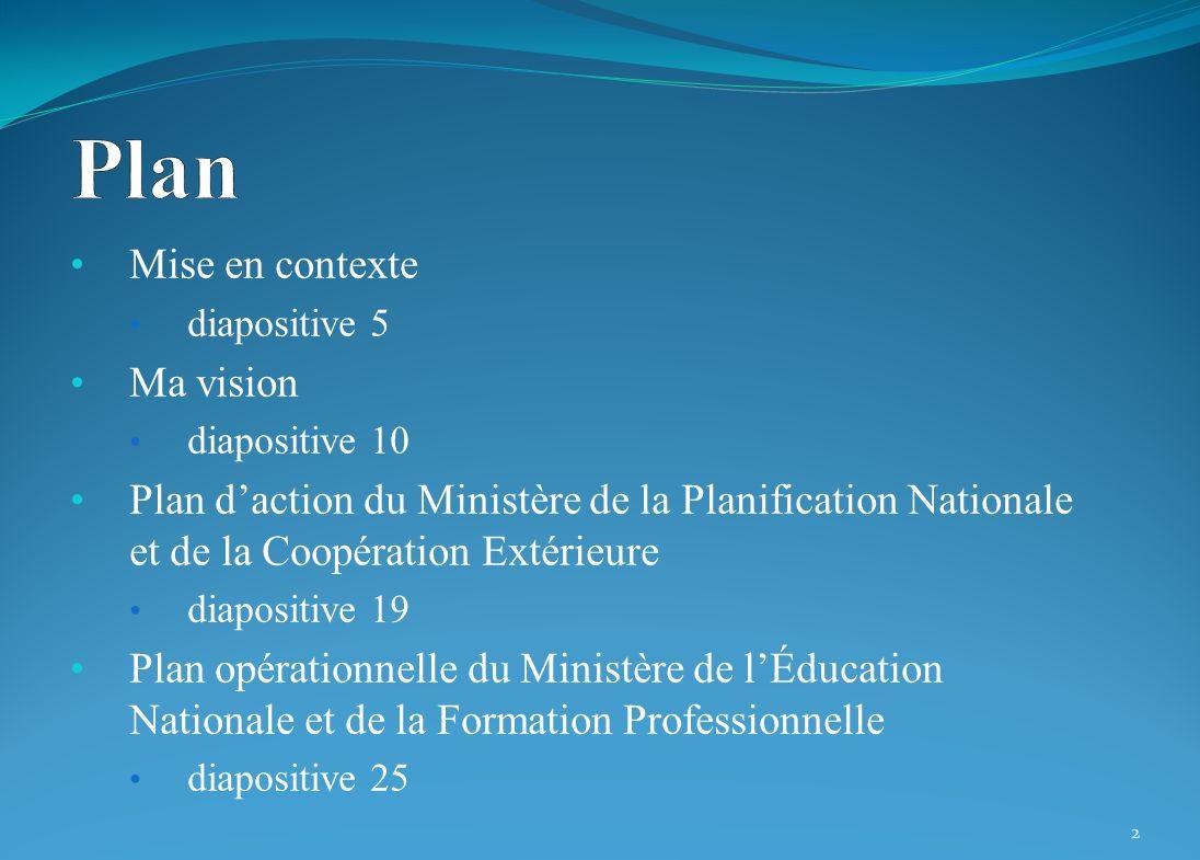 Mise en contexte diapositive 5 Ma vision diapositive 10 Plan daction du Ministère de la Planification Nationale et de la Coopération Extérieure diapos