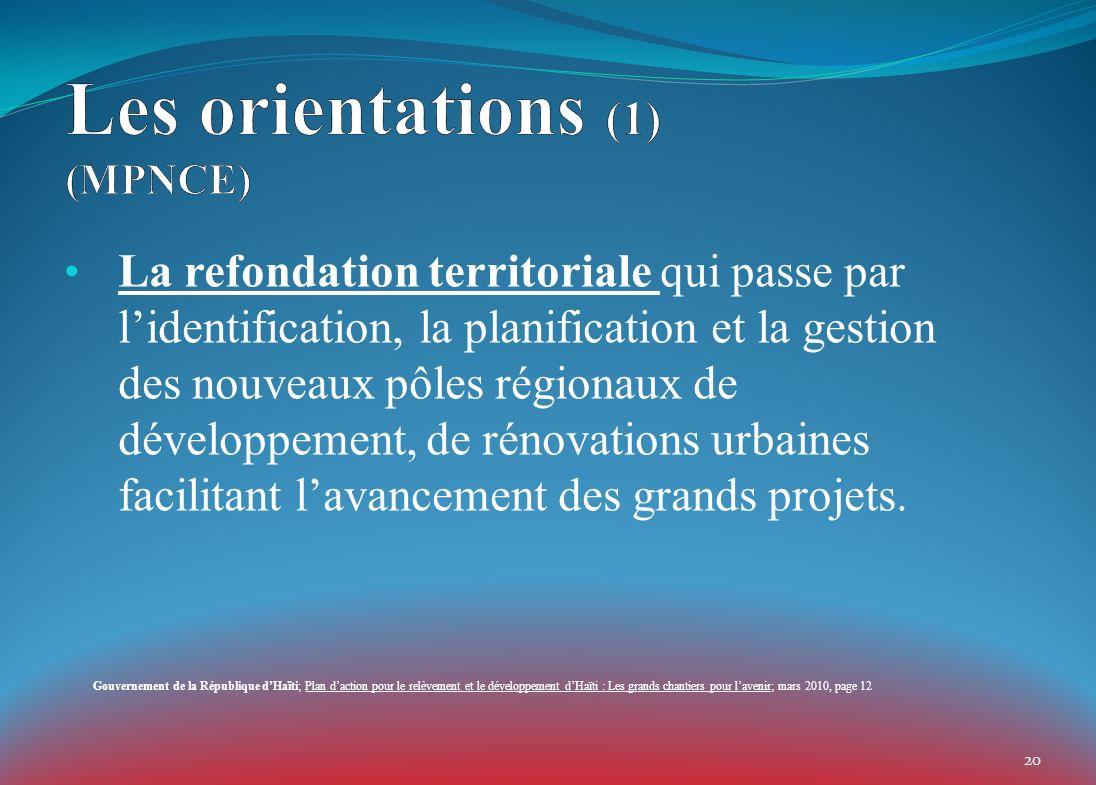 La refondation territoriale qui passe par lidentification, la planification et la gestion des nouveaux pôles régionaux de développement, de rénovations urbaines facilitant lavancement des grands projets.