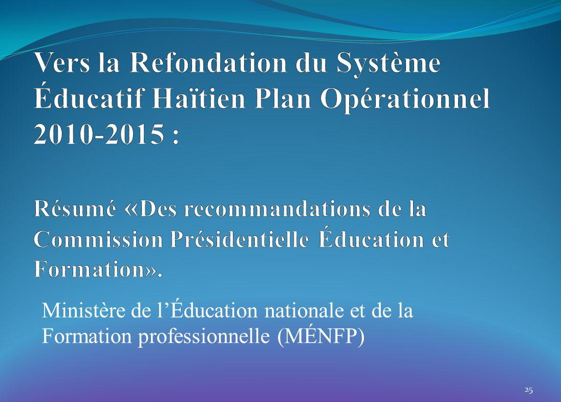 25 Ministère de lÉducation nationale et de la Formation professionnelle (MÉNFP)