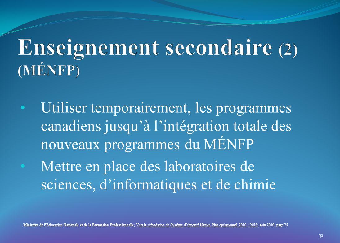 Utiliser temporairement, les programmes canadiens jusquà lintégration totale des nouveaux programmes du MÉNFP Mettre en place des laboratoires de scie