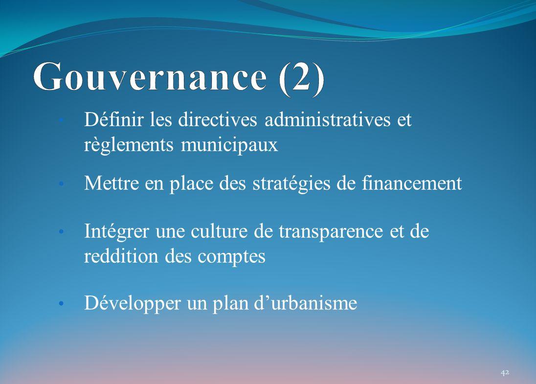 Définir les directives administratives et règlements municipaux Mettre en place des stratégies de financement Intégrer une culture de transparence et de reddition des comptes Développer un plan durbanisme 42