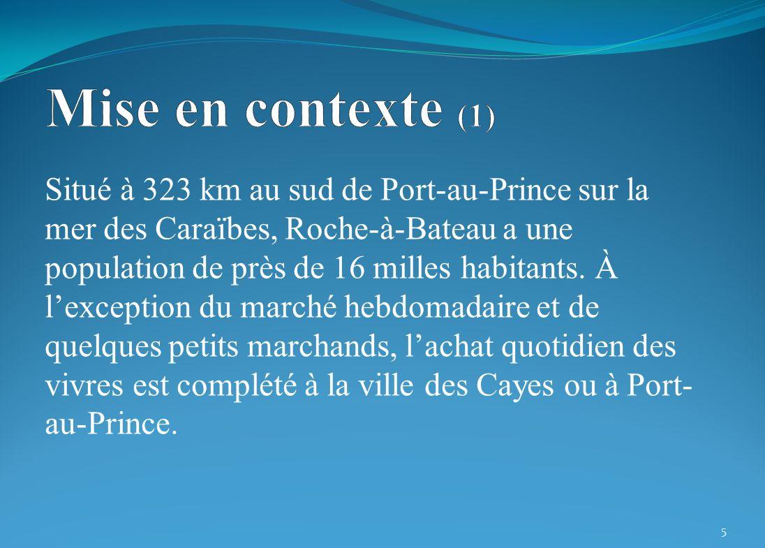 Situé à 323 km au sud de Port-au-Prince sur la mer des Caraïbes, Roche-à-Bateau a une population de près de 16 milles habitants. À lexception du march