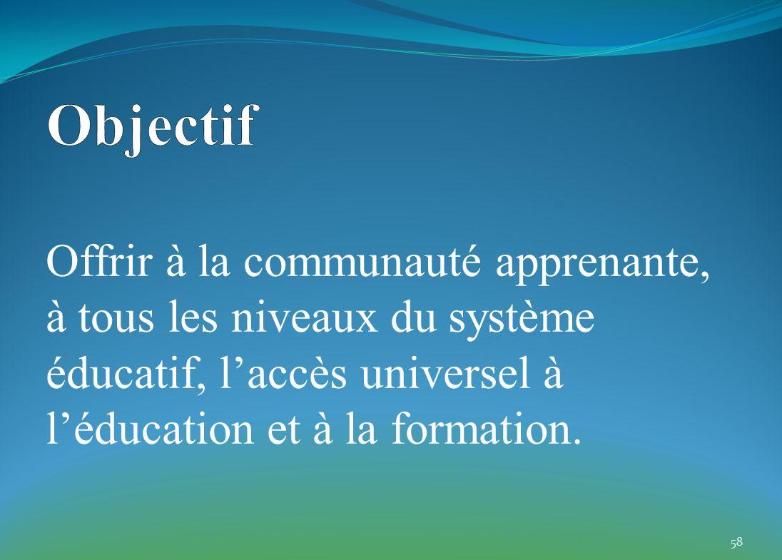 Offrir à la communauté apprenante, à tous les niveaux du système éducatif, laccès universel à léducation et à la formation. 58