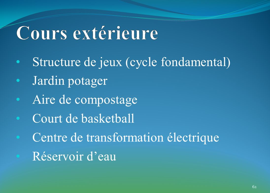 Structure de jeux (cycle fondamental) Jardin potager Aire de compostage Court de basketball Centre de transformation électrique Réservoir deau 62