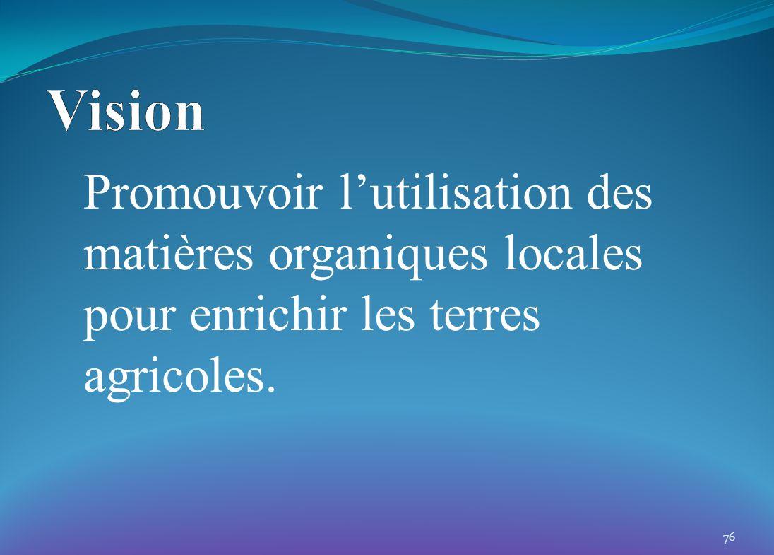 Promouvoir lutilisation des matières organiques locales pour enrichir les terres agricoles. 76