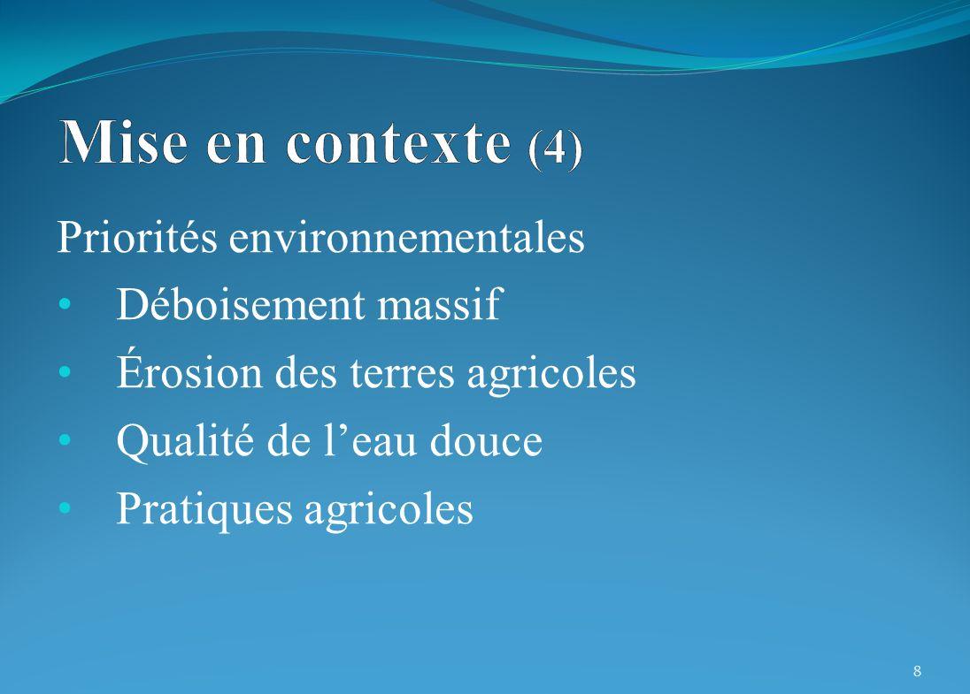 Priorités environnementales Déboisement massif Érosion des terres agricoles Qualité de leau douce Pratiques agricoles 8