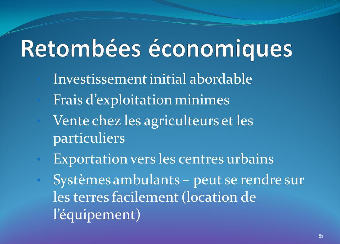 Investissement initial abordable Frais dexploitation minimes Vente chez les agriculteurs et les particuliers Exportation vers les centres urbains Systèmes ambulants – peut se rendre sur les terres facilement (location de léquipement) 81