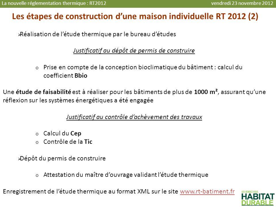 Les étapes de construction dune maison individuelle RT 2012 (2) Réalisation de létude thermique par le bureau détudes Justificatif au dépôt de permis