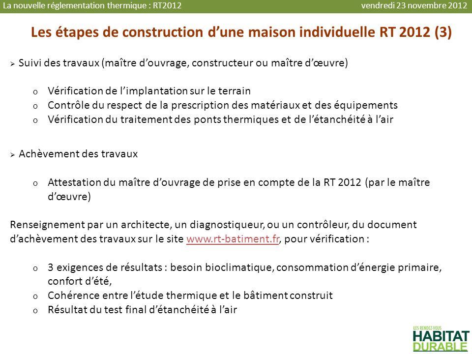 Les étapes de construction dune maison individuelle RT 2012 (3) Suivi des travaux (maître douvrage, constructeur ou maître dœuvre) o Vérification de l