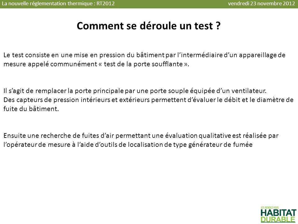Comment se déroule un test ? Le test consiste en une mise en pression du bâtiment par lintermédiaire dun appareillage de mesure appelé communément « t