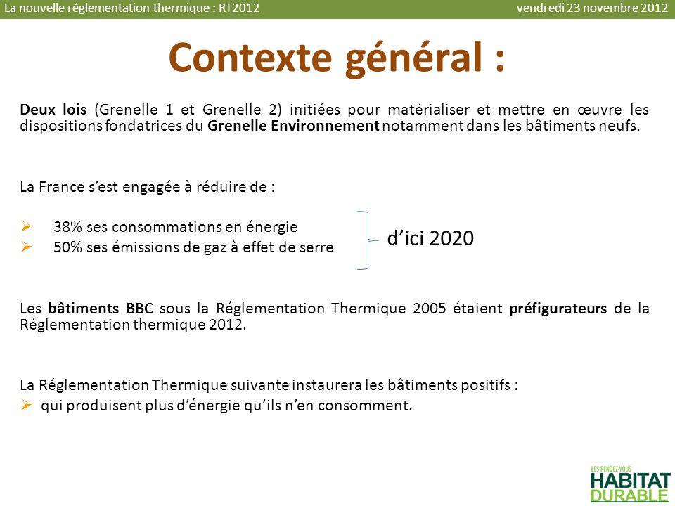 Contexte général : Deux lois (Grenelle 1 et Grenelle 2) initiées pour matérialiser et mettre en œuvre les dispositions fondatrices du Grenelle Environ