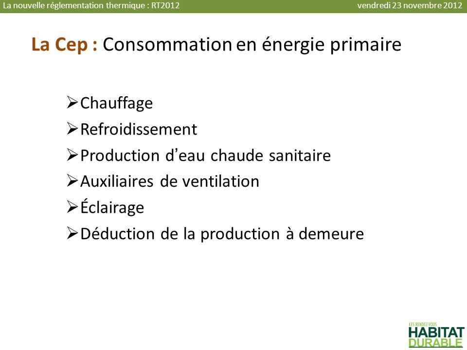 La Cep : Consommation en énergie primaire Chauffage Refroidissement Production deau chaude sanitaire Auxiliaires de ventilation Éclairage Déduction de