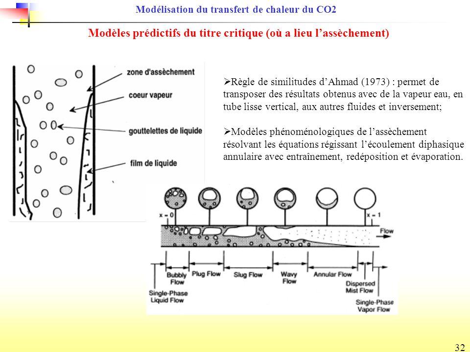 32 Modèles prédictifs du titre critique (où a lieu lassèchement) Règle de similitudes dAhmad (1973) : permet de transposer des résultats obtenus avec de la vapeur eau, en tube lisse vertical, aux autres fluides et inversement; Modèles phénoménologiques de lassèchement résolvant les équations régissant lécoulement diphasique annulaire avec entraînement, redéposition et évaporation.