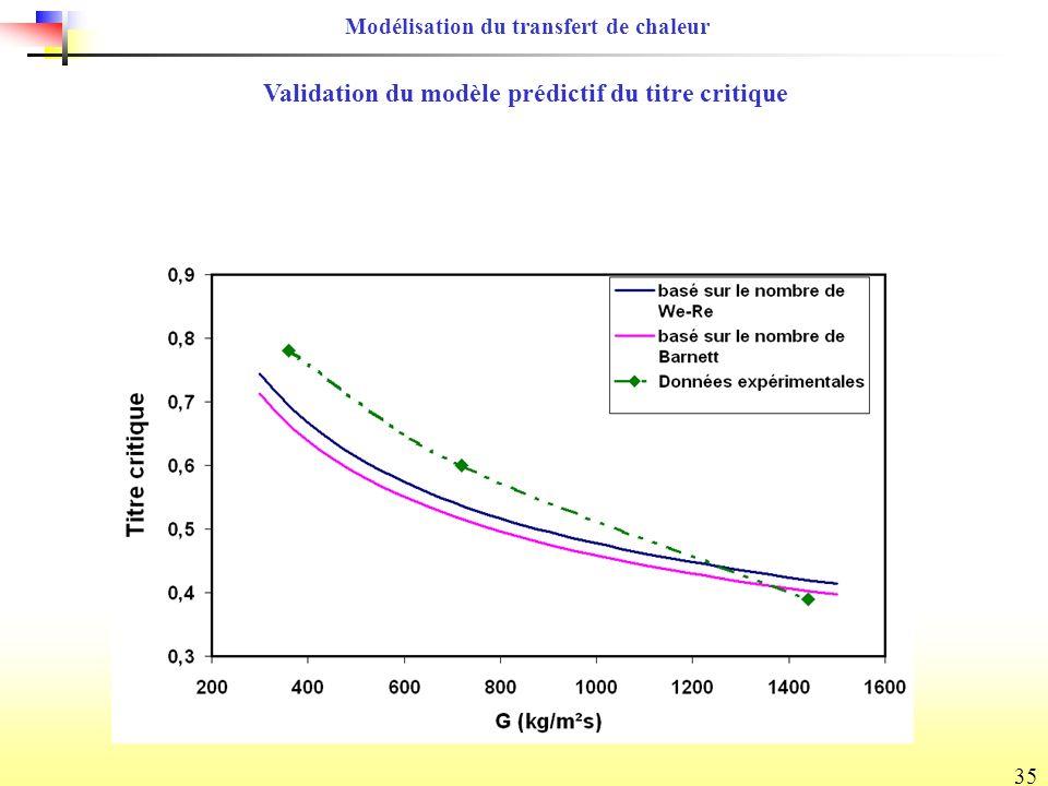 35 Modélisation du transfert de chaleur Validation du modèle prédictif du titre critique