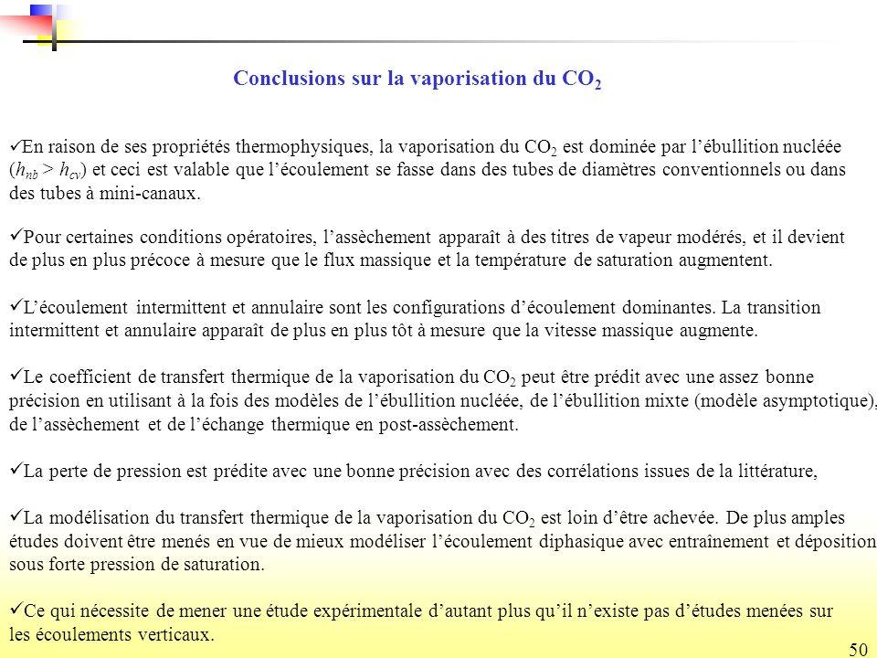 50 Conclusions sur la vaporisation du CO 2 En raison de ses propriétés thermophysiques, la vaporisation du CO 2 est dominée par lébullition nucléée (h nb > h cv ) et ceci est valable que lécoulement se fasse dans des tubes de diamètres conventionnels ou dans des tubes à mini-canaux.