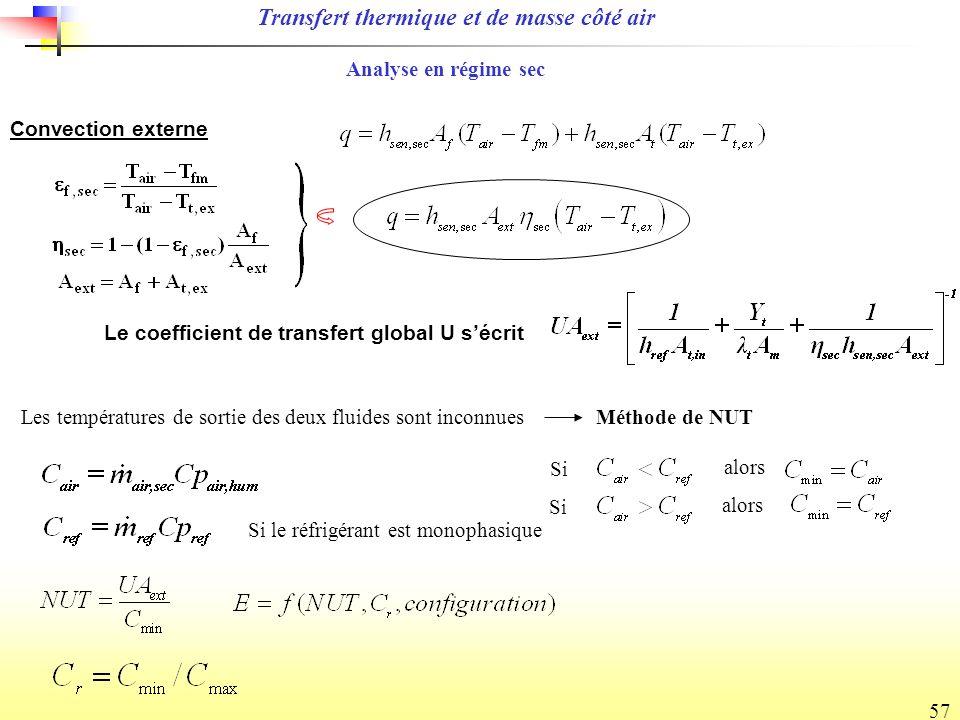 57 Le coefficient de transfert global U sécrit Convection externe Les températures de sortie des deux fluides sont inconnuesMéthode de NUT Si Si le réfrigérant est monophasique alors Si alors Analyse en régime sec Transfert thermique et de masse côté air