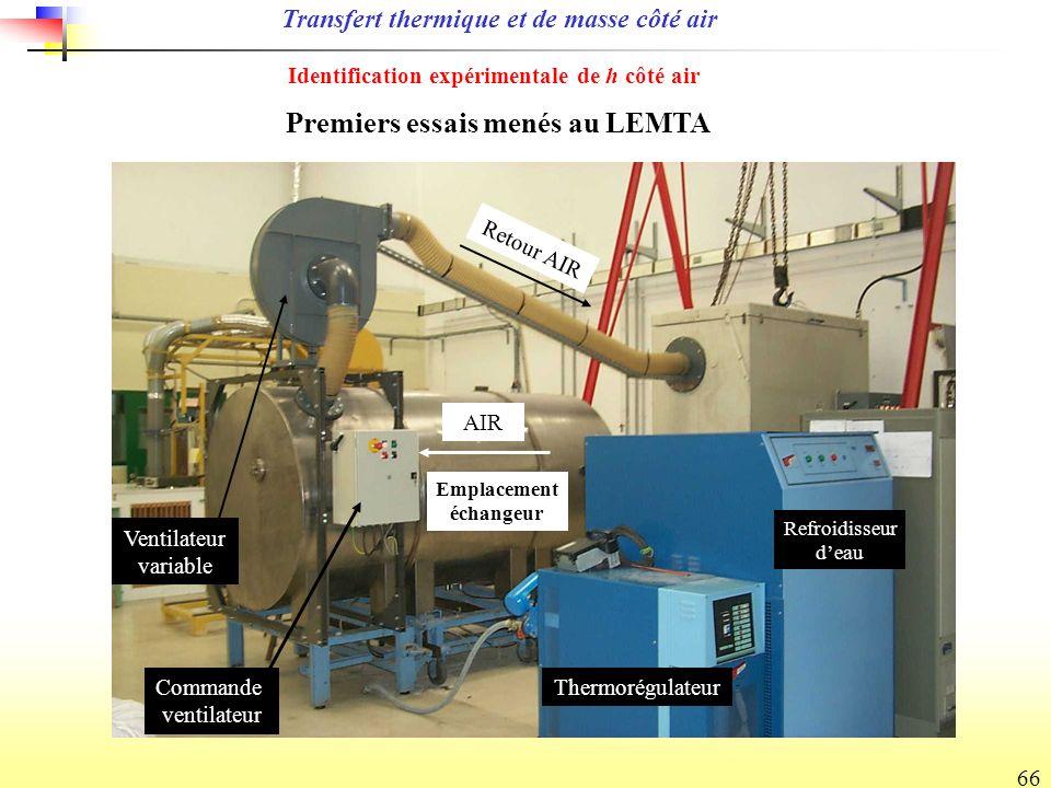 66 Premiers essais menés au LEMTA Transfert thermique et de masse côté air Identification expérimentale de h côté air Ventilateur variable Retour AIR Commande ventilateur AIR Refroidisseur deau Thermorégulateur Emplacement échangeur