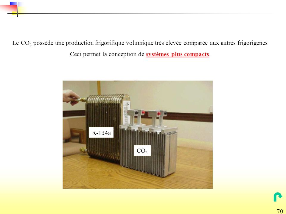 70 R-134a CO 2 Le CO 2 possède une production frigorifique volumique très élevée comparée aux autres frigorigènes Ceci permet la conception de systèmes plus compacts.