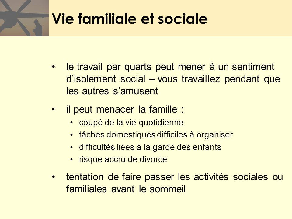 Vie familiale et sociale le travail par quarts peut mener à un sentiment disolement social – vous travaillez pendant que les autres samusent il peut m