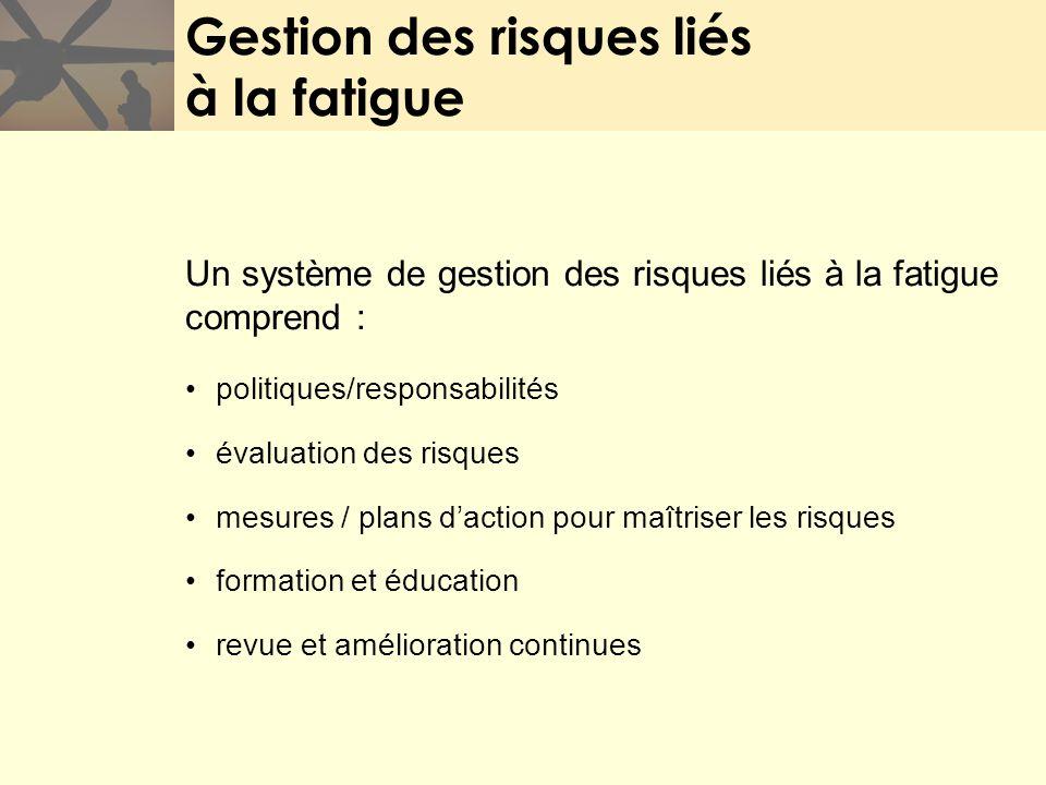 Gestion des risques liés à la fatigue Un système de gestion des risques liés à la fatigue comprend : politiques/responsabilités évaluation des risques