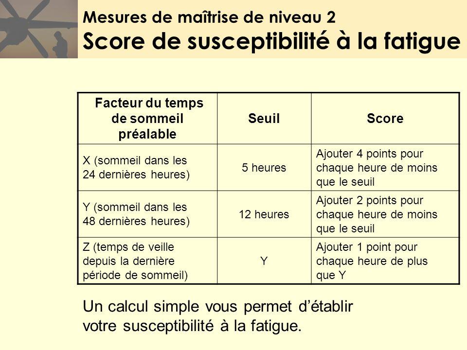 Mesures de maîtrise de niveau 2 Score de susceptibilité à la fatigue Un calcul simple vous permet détablir votre susceptibilité à la fatigue. Facteur