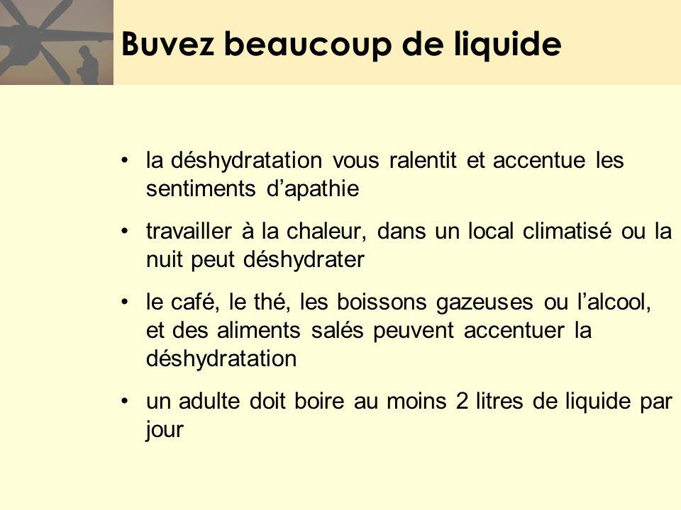 Buvez beaucoup de liquide la déshydratation vous ralentit et accentue les sentiments dapathie travailler à la chaleur, dans un local climatisé ou la n