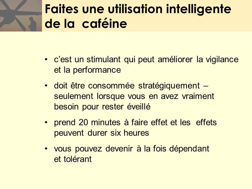 Faites une utilisation intelligente de la caféine cest un stimulant qui peut améliorer la vigilance et la performance doit être consommée stratégiquem