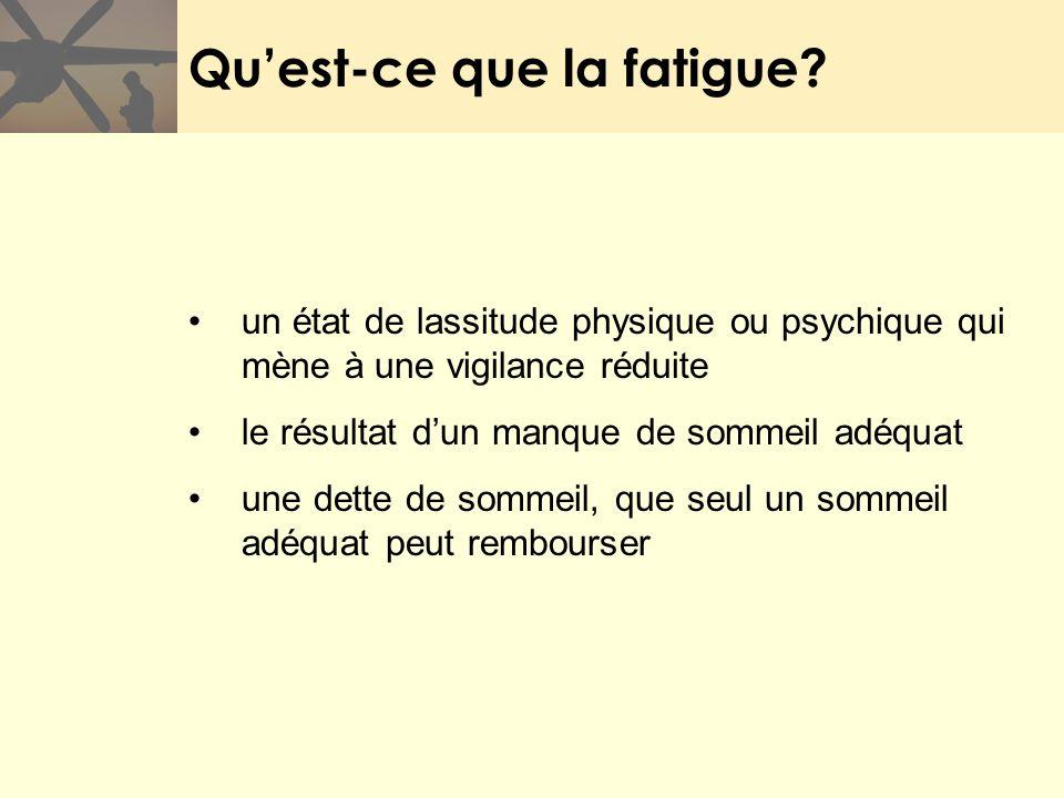 Quest-ce que la fatigue? un état de lassitude physique ou psychique qui mène à une vigilance réduite le résultat dun manque de sommeil adéquat une det