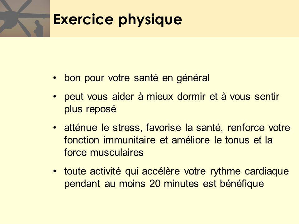 Exercice physique bon pour votre santé en général peut vous aider à mieux dormir et à vous sentir plus reposé atténue le stress, favorise la santé, re