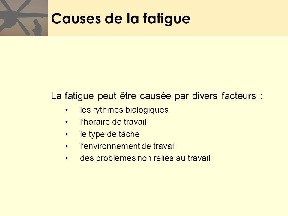 Causes de la fatigue La fatigue peut être causée par divers facteurs : les rythmes biologiques lhoraire de travail le type de tâche lenvironnement de