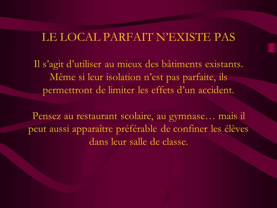 LE LOCAL PARFAIT NEXISTE PAS Le choix résulte du meilleur compromis entre les différents critères.