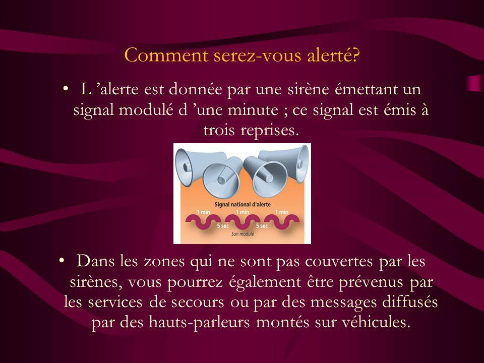 Comment serez-vous alerté? L alerte est donnée par une sirène émettant un signal modulé d une minute ; ce signal est émis à trois reprises. Dans les z