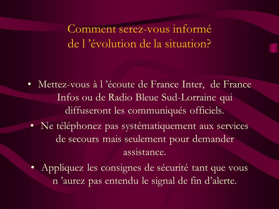 Comment serez-vous informé de l évolution de la situation? Mettez-vous à l écoute de France Inter, de France Infos ou de Radio Bleue Sud-Lorraine qui