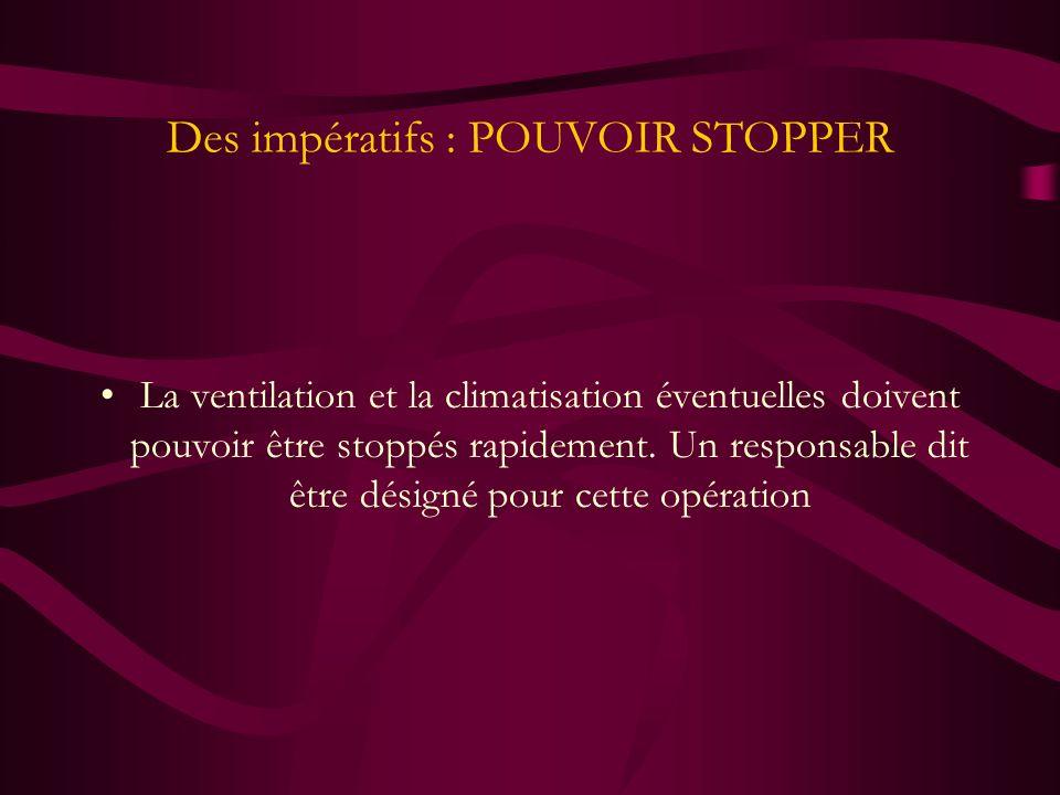 Des impératifs : POUVOIR STOPPER La ventilation et la climatisation éventuelles doivent pouvoir être stoppés rapidement. Un responsable dit être désig