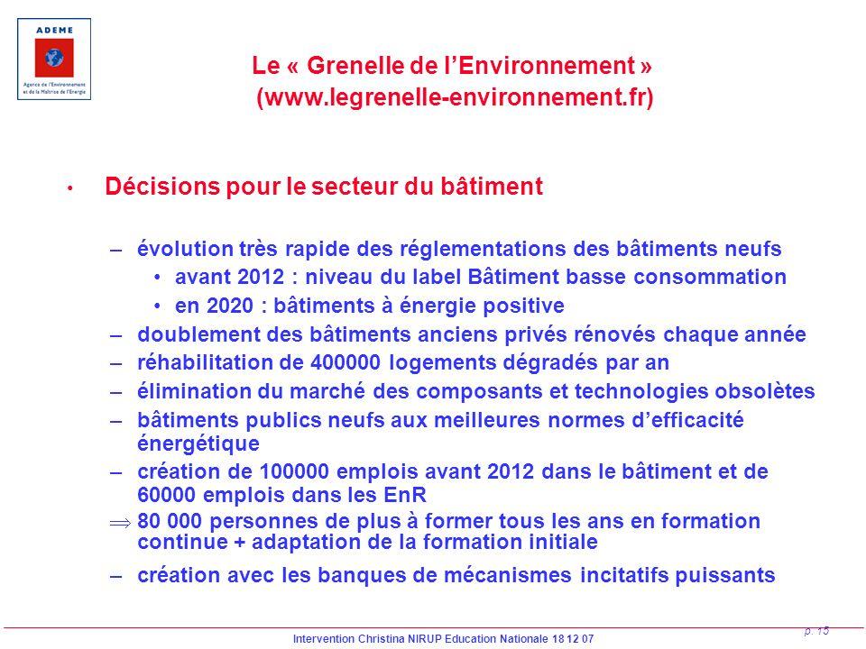 Intervention Christina NIRUP Education Nationale 18 12 07 p. 15 Le « Grenelle de lEnvironnement » (www.legrenelle-environnement.fr) Décisions pour le