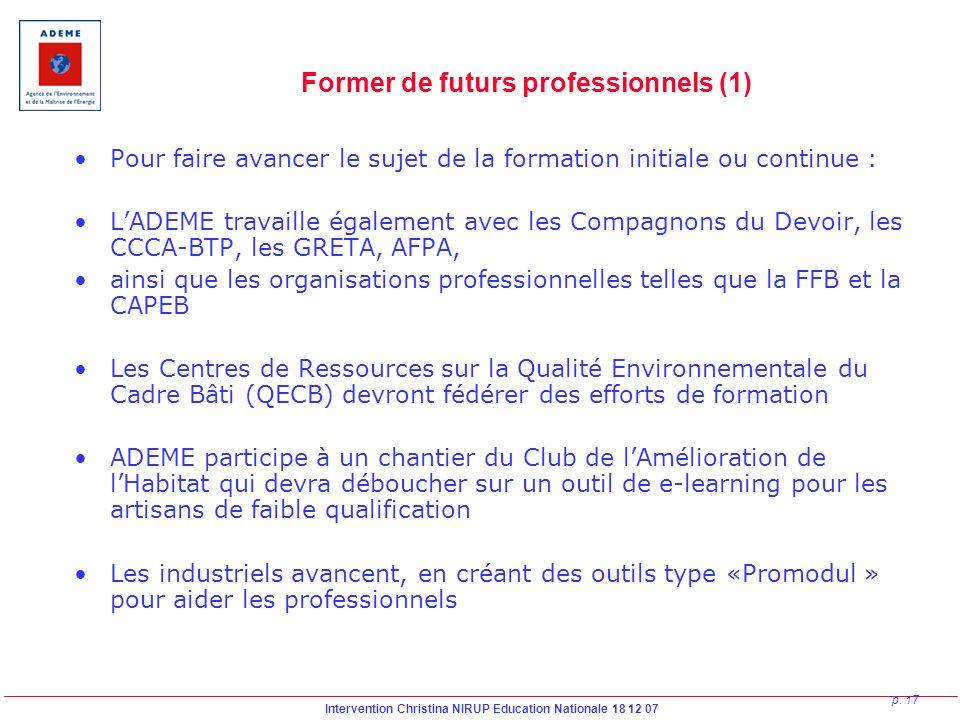 Intervention Christina NIRUP Education Nationale 18 12 07 p. 17 Former de futurs professionnels (1) Pour faire avancer le sujet de la formation initia
