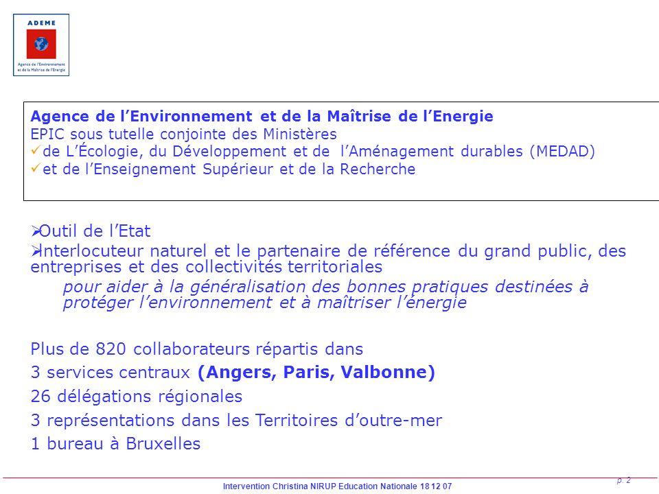 Intervention Christina NIRUP Education Nationale 18 12 07 p. 2 Agence de lEnvironnement et de la Maîtrise de lEnergie EPIC sous tutelle conjointe des