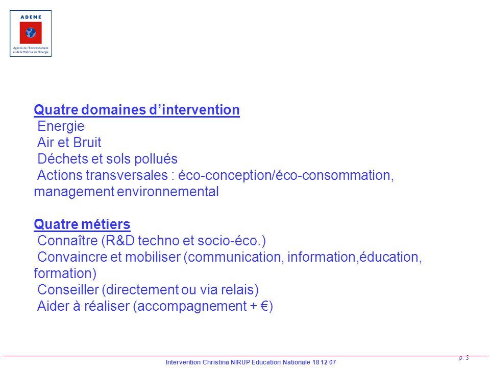 Intervention Christina NIRUP Education Nationale 18 12 07 p. 3 Quatre domaines dintervention Energie Air et Bruit Déchets et sols pollués Actions tran