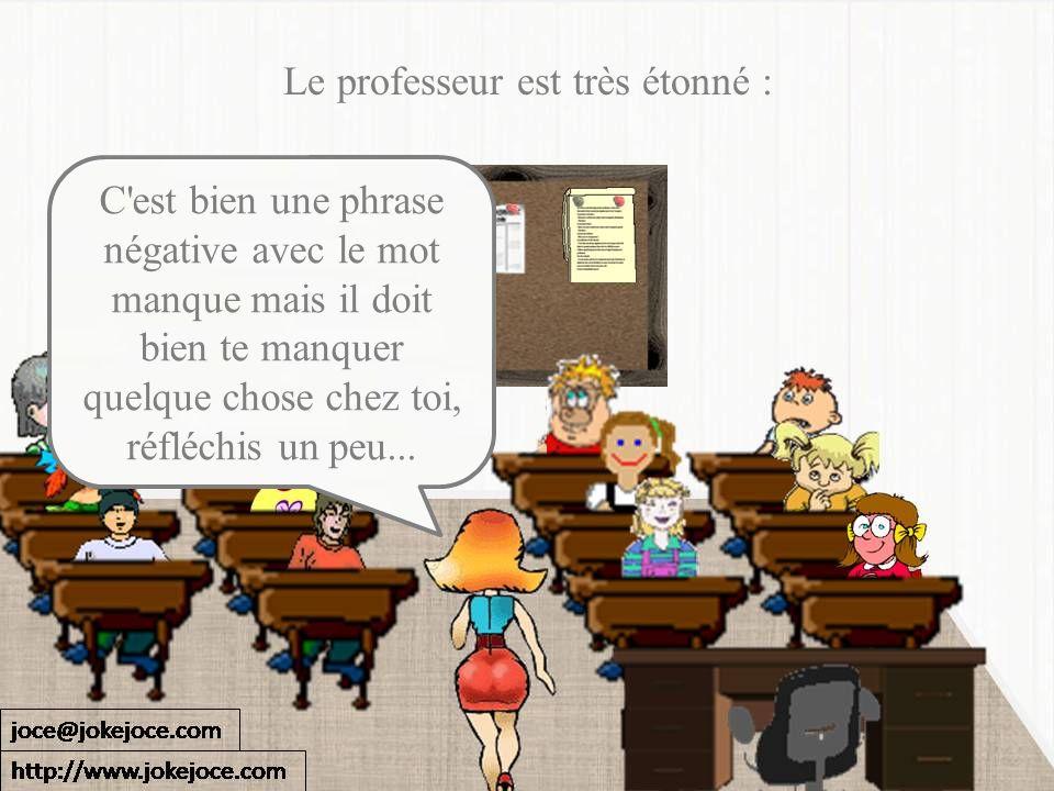 Le professeur est très étonné : C'est bien une phrase négative avec le mot manque mais il doit bien te manquer quelque chose chez toi, réfléchis un pe