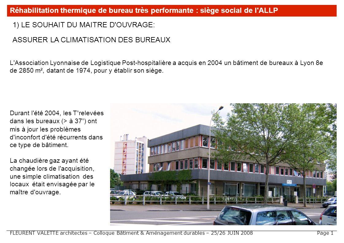 FLEURENT VALETTE architectes – Colloque Bâtiment & Aménagement durables – 25/26 JUIN 2008 1) LE SOUHAIT DU MAITRE D'OUVRAGE: ASSURER LA CLIMATISATION