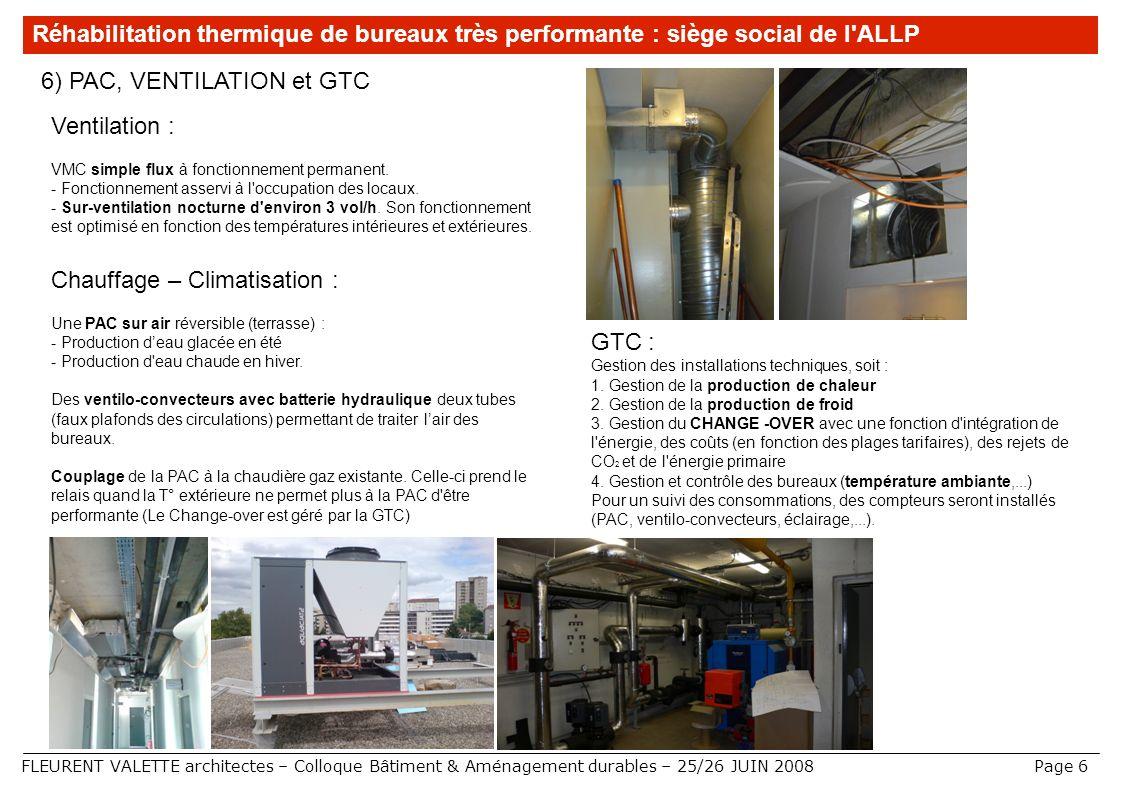 FLEURENT VALETTE architectes – Colloque Bâtiment & Aménagement durables – 25/26 JUIN 2008 6) PAC, VENTILATION et GTC Réhabilitation thermique de burea