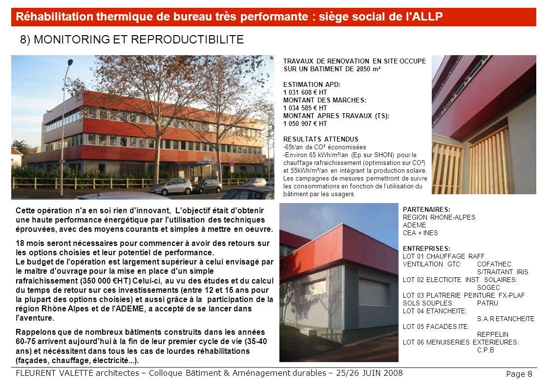 FLEURENT VALETTE architectes – Colloque Bâtiment & Aménagement durables – 25/26 JUIN 2008 8) MONITORING ET REPRODUCTIBILITE Réhabilitation thermique d