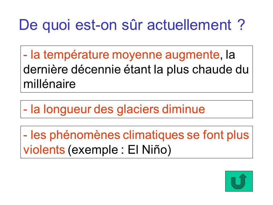 De quoi est-on sûr actuellement ? - la température moyenne augmente, la dernière décennie étant la plus chaude du millénaire - la longueur des glacier