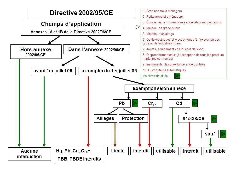 Directive 2002/95/CE Champs dapplication Annexes 1A et 1B de la Directive 2002/96/CE Hors annexe 2002/96/CE Dans lannexe 2002/96/CE Aucune interdiction à compter du 1er juillet 06avant 1er juillet 06 Hg, Pb, Cd, Cr 6 +, PBB, PBDE interdits Exemption selon annexe PbCdCr 6+ 1.