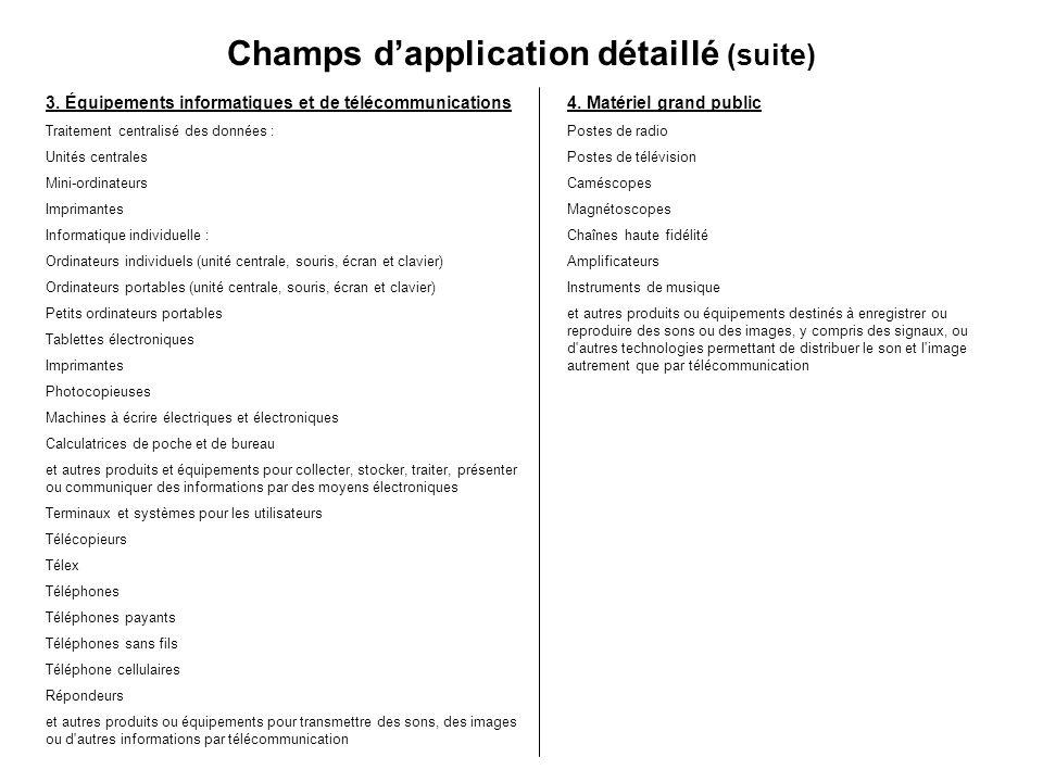 Champs dapplication détaillé (suite) 3. Équipements informatiques et de télécommunications Traitement centralisé des données : Unités centrales Mini-o