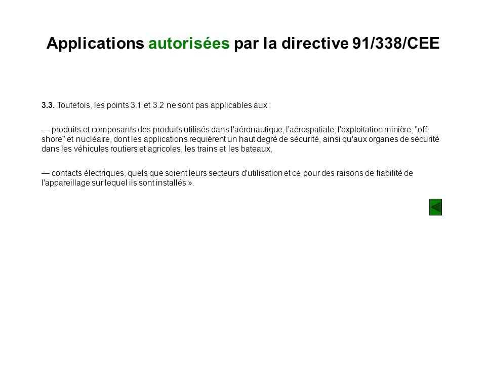 Applications autorisées par la directive 91/338/CEE 3.3. Toutefois, les points 3.1 et 3.2 ne sont pas applicables aux : produits et composants des pro