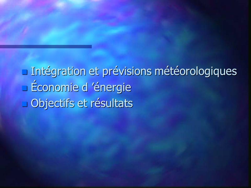 n Intégration et prévisions météorologiques n Économie d énergie n Objectifs et résultats