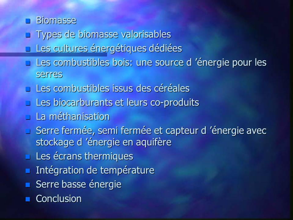 n Biomasse n Types de biomasse valorisables n Les cultures énergétiques dédiées n Les combustibles bois: une source d énergie pour les serres n Les co