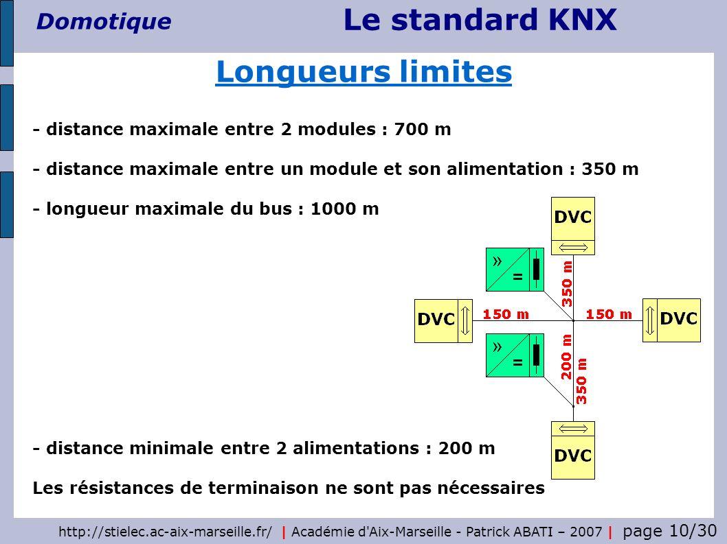 Le standard KNX Domotique http://stielec.ac-aix-marseille.fr/   Académie d'Aix-Marseille - Patrick ABATI – 2007   page 10/30 Longueurs limites - dista