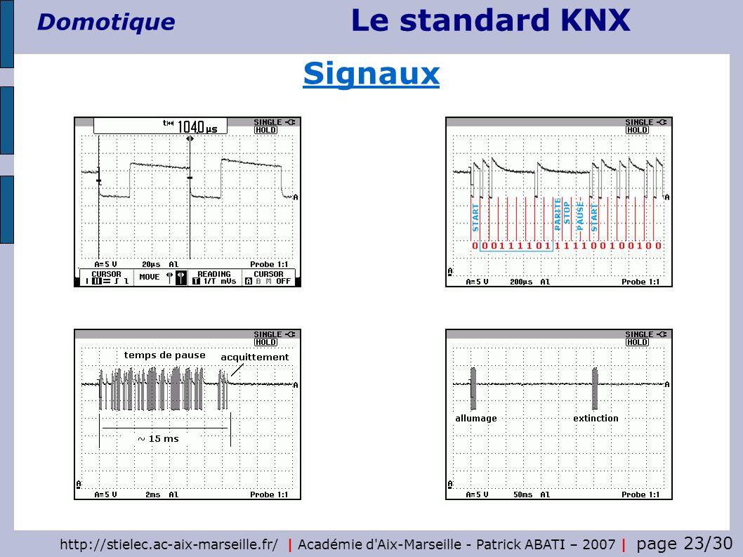 Le standard KNX Domotique http://stielec.ac-aix-marseille.fr/   Académie d'Aix-Marseille - Patrick ABATI – 2007   page 23/30 Signaux